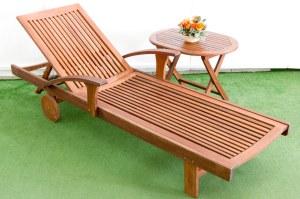 מיטת שיזוף לגינה מעץ מלא, שולחן שירות מתקפל מעץ