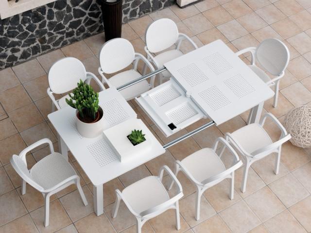 ריהוט גן שולחן הגדלה לבנטה לבן