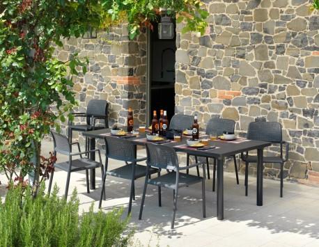 ריהוט גן שולחן הגדלה ליבקיו כסאות פלסטיק בורה אפור